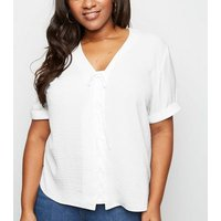 Curves Off White Lattice Front Blouse New Look