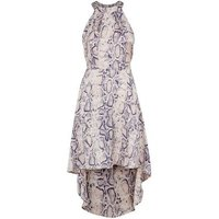 Blue Vanilla Pink Snake Print Halterneck Dress New Look