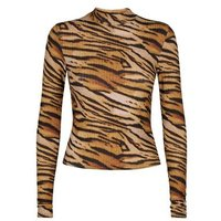 Brown Tiger Print Funnel Neck Top New Look