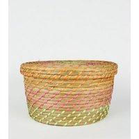 Multicoloured Neon Woven Straw Basket New Look