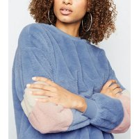 Blue Colour Block Faux Fur Sweatshirt New Look