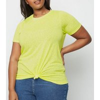 Curves Yellow Neon Leopard Burnout T-Shirt New Look