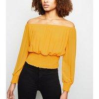 Cameo Rose Mustard Shirred Bardot Top New Look