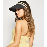 Black Woven Straw Effect Visor Hat New Look