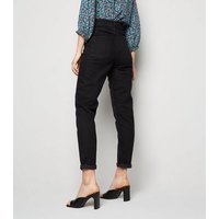Black Washed Waist Enhance Slim Tori Mom Jeans New Look