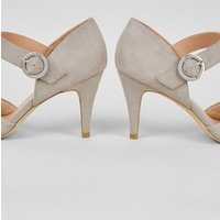 Wide Fit Grey Suedette Ankle Strap Court Shoes New Look