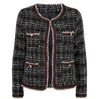 Blue Vanilla Black Bouclé Tweed 4 Pocket Jacket New Look