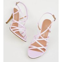 Lilac Patent Strappy Stiletto Heels New Look