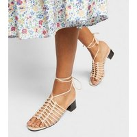 Nude Woven Strap Ankle Tie Mules New Look