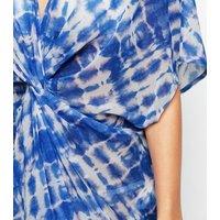 Blue Tie Dye Twist Front Beach Kaftan New Look