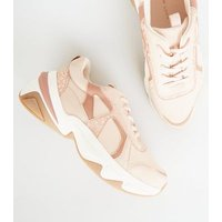 Nude Leather-Look Colour Block Chunky Trainers New Look