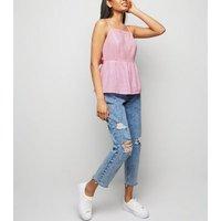Petite Pink Linen Blend Tie Back Cami New Look