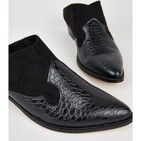 Black Faux Croc and Suedette Slip On Mules New Look