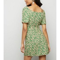 Petite Green Floral Button Square Neck Dress New Look