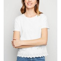 White Broderie Scallop Hem T-Shirt New Look