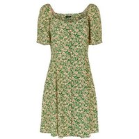 Tall Green Ditsy Floral Square Neck Dress New Look