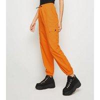 Bright Orange Utility Pocket Cuffed Shell Joggers New Look