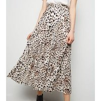 Tall Brown Leopard Print Pleated Skirt New Look