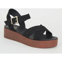 Girls Black Suedette Wood Flatform Sandals New Look
