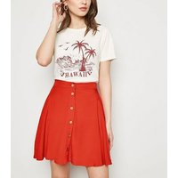 Red Button Up Mini Skirt New Look