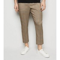 Brown Check Print Trousers New Look