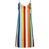 Blue Vanilla Rainbow Stripe Slip Dress New Look