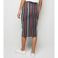 Black Stripe Pencil Skirt New Look