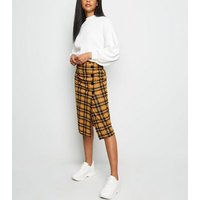 Yellow Check Button Side Pencil Skirt New Look