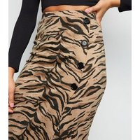 Brown Tiger Print Button Side Pencil Skirt New Look
