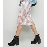 Grey Tie Dye Mesh Midi Skirt New Look