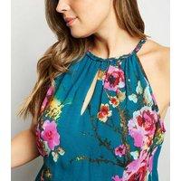 Blue Vanilla Curves Green Floral Halterneck Dress New Look