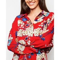 AX Paris Red Floral Batwing Sleeve Dress New Look