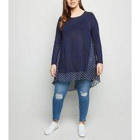 Blue Vanilla Curves Navy Dip Hem Tunic Top New Look