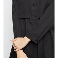 Cameo-Rose-Black-Twill-Button-Front-Smock-Dress-New-Look