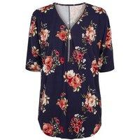 Blue Vanilla Navy Floral Zip Front Oversized Top New Look