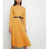Cameo Rose Orange Pleated Ribbon Waist Midi Dress New Look