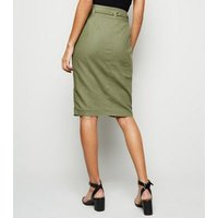 Olive Linen Blend Pencil Skirt New Look