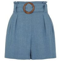 Pale Blue Linen Look Buckle Shorts New Look