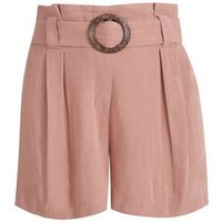 Pale Pink Linen Look Buckle Shorts New Look