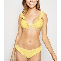 Yellow Broderie Frill Triangle Bikini Top New Look