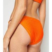 Orange Neon High Shine Hipster Bikini Bottoms New Look