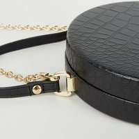 Black Faux Croc Round Shoulder Bag New Look