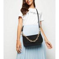 Black Suedette Chain Strap Shoulder Bag New Look