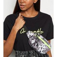Black Faux Snake Mini Utility Bum Bag New Look