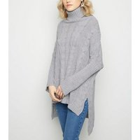 Urban Bliss Pale Grey Cable Knit Longline Jumper New Look