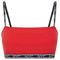Red NYC Slogan Crop Top New Look