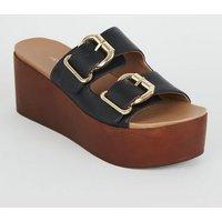 Black Leather-Look Wood Flatform Sliders New Look