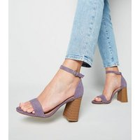 Lilac Suede Flare Block Heel Sandals New Look