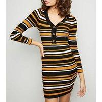 Tokyo Doll Orange Stripe Ribbed Mini Dress New Look