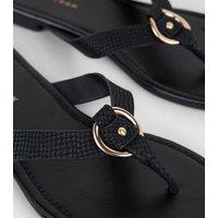 Wide Fit Black Faux Snake Ring Strap Flip Flops New Look